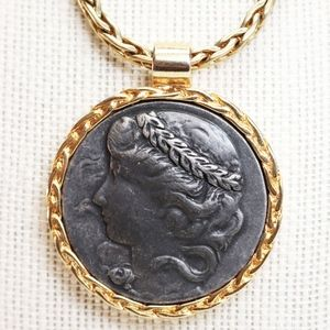 Joan Rivers Greek Medallion Cameo Pendant Necklace